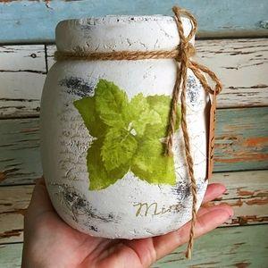 New Rustic Mint Herbs Vase